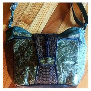 Multi-textured  alligator ostrich  bag